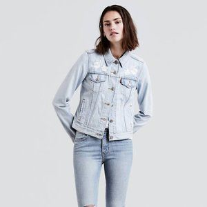 Levi's Floral Embroidered Trucker Denim Jacket